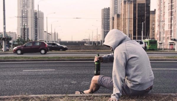 problem drinker on the street