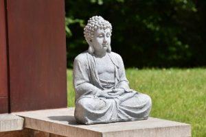 A statue meditating